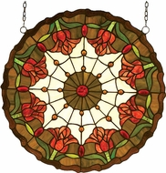 Meyda Tiffany 14757 Colonial Tulip Tiffany Hanging Stained Glass Window Art