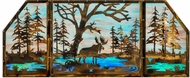 Meyda Tiffany 147850 Moose at Lake Rustic Antique Copper;Custom Stained Glass Window