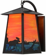 Meyda Tiffany 147998 Stillwater Moose at Lake Country Moose On Lake Oa / Eb / Craftsman Brown Exterior Lamp Sconce