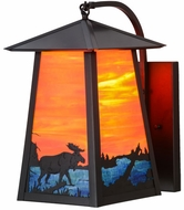 Meyda Tiffany 147999 Stillwater Moose at Lake Rustic Moose On Lake Oa / Eb / Craftsman Brown Outdoor Wall Sconce Lighting