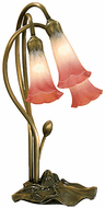 Meyda Tiffany 14813 Pink/White Pond Lily Traditional Accent Lighting Table Lamp