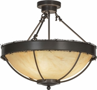 Meyda Tiffany 148915 Barbed Wire Timeless Bronze / Natural Horn Acrylic Flush Lighting