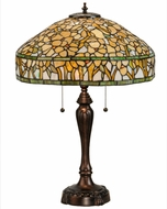 Meyda Tiffany 149457 Tiffany Dogwood Tiffany Mahogany Bronze Side Table Lamp