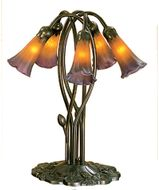 Meyda Tiffany 14962 Amber/Purple Pond Lily Traditional Antique Accent Table Top Lamp