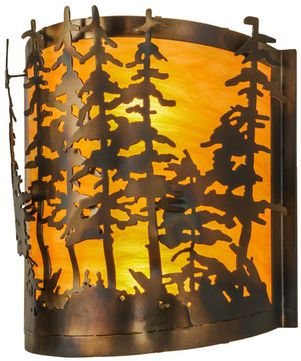 Meyda Tiffany 150243 Tall Pines Rustic Antique Copper Wall Sconce Light