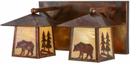 Meyda Tiffany 150779 Pine Tree and Bear Country Bai Vintage Copper 2-Light Bathroom Vanity Light Fixture
