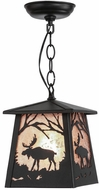 Meyda Tiffany 150872 Moose at Dawn Country Black / Silver Mica Ceiling Pendant Light