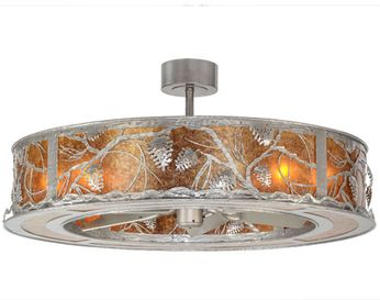 Meyda Tiffany 152171 Whispering Pines Country Nickel / Amber Mica Ceiling Fan