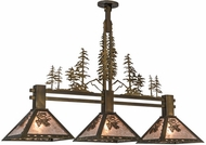 Meyda Tiffany 152313 Winter Pine Tall Pines Country Antique Copper / Silver Mica Island Light Fixture