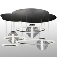 Meyda Tiffany 152693 Anillo Bola Modern Solar Black / White Acrylic And Clear Acrylic Multi Hanging Light