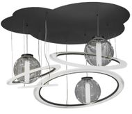 Meyda Tiffany 152804 Anillo Bola Tilt Modern Solar Black / White Acrylic And Clear Acrylic Multi Pendant Lighting Fixture