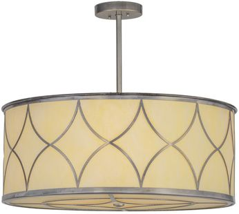 Meyda Tiffany 152811 Revival Deco Steel / Bleached Honey Onyx Acrylic Hanging Pendant Lighting