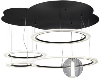 Meyda Tiffany 152822 Anillo Uno Bola Contemporary Solar Black / White Acrylic And Clear Acrylic Multi Hanging Pendant Light