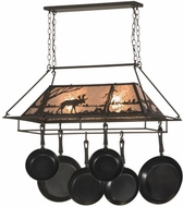 Meyda Tiffany 152951 Moose at Lake Rustic Oil Rubbed Bronze / Silver Mica Island Lighting Pot Rack