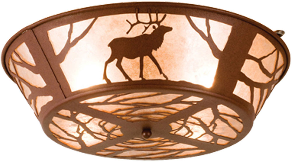 Meyda Tiffany 15311 Elk On The Loose Rustic Rust Silver Mica Ceiling Light Fixture Loading Zoom