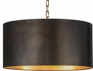 Meyda Tiffany 153356 Cilindro Campbell Craftsman Brown / Brushed Brass Hanging Light Fixture