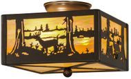 Meyda Tiffany 15352 Deer at Lake Country Timeless Bronze Ceiling Light