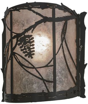 Meyda Tiffany 153525 Whispering Pines Country Timeless Bronze / Silver Mica Wall Sconce