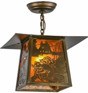 Meyda Tiffany 153973 Beaver at Work Country Antique Copper / Amber Mica Drop Ceiling Light Fixture