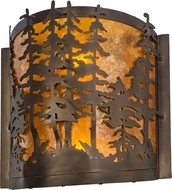Meyda Tiffany 153975 Tall Pines Rustic Antique Copper / Amber Mica Wall Light Sconce