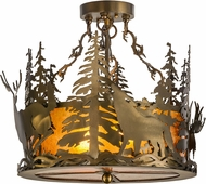 Meyda Tiffany 153985 Wildlife at Dusk Country Antique Copper / Amber Mica Ceiling Lighting Fixture