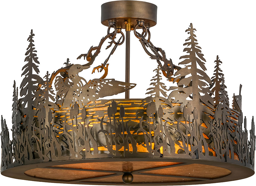 Meyda Tiffany 153997 Loon Rustic Antique Copper Amber Mica Ceiling Light Fixture Loading Zoom