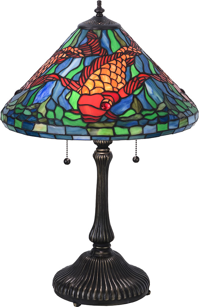 Meyda Tiffany 154003 Tiffany Koi Tiffany Blue Green Orange Green Table Lamp Mey 154003