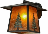 Meyda Tiffany 154426 Stillwater Tall Pine Country Craftsman / Amber Mica Green Trees Exterior Light Sconce