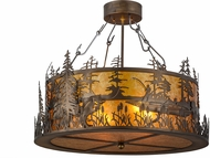Meyda Tiffany 154444 Bass and Fisherman Country Antique Copper / Amber Mica Ceiling Light