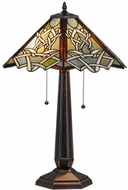 Meyda Tiffany 154481 Glasgow Bungalow Tiffany Mahogany Bronze Table Lamp Lighting