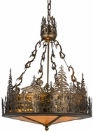 Meyda Tiffany 154670 Loon Country Antique Copper / Amber Mica Pendant Light