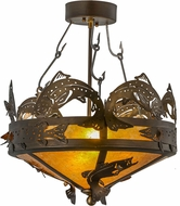 Meyda Tiffany 154683 Catch of the Day Country Antique Copper / Amber Mica Ceiling Light Fixture