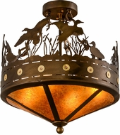 Meyda Tiffany 154743 Ducks in Flight Rustic Antique Copper / Amber Mica Flush Mount Lighting