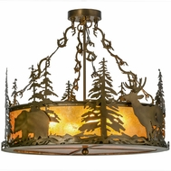 Meyda Tiffany 154745 Wildlife at Dusk Country Antique Copper / Amber Mica Overhead Lighting