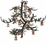 Meyda Tiffany 154790 Pine Branch Valley View Country Rust / Silver Mica / Green Branches Chandelier Lighting