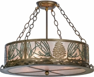 Meyda Tiffany 154878 Mountain Pine Country Silver Mica / Green Needles Flush Mount Lighting Fixture