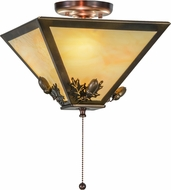 Meyda Tiffany 155015 Oak Leaf & Acorn Country Burnished A/C / Spectrum Beige Flush Mount Ceiling Light Fixture