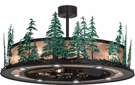 Meyda Tiffany 155102 Tall Pines Wrought Iron / Silver Mica / Green Trees Home Ceiling Fan