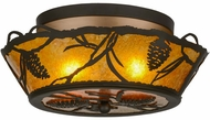 Meyda Tiffany 155143 Whispering Pines Country Oil Rubbed Bronze / Amber Mica Overhead Light Fixture