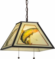 Meyda Tiffany 155274 Reverse Painted Trout Rustic X Rp Trout Mahogany Bronze Drop Ceiling Lighting