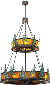 Meyda Tiffany 156087 Tall Pines Wrought Iron / Amber Mica / Green Trees Home Ceiling Fan