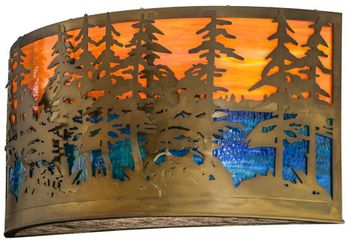 Meyda Tiffany 156518 Tall Pines Rustic Antique Copper / Oa Blue / Green Sconce Lighting