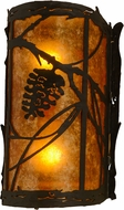 Meyda Tiffany 156617 Whispering Pines Rustic Oil Rubbed Bronze / Amber Mica Lighting Sconce