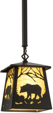 Meyda Tiffany 156782 Bear at Dawn Country Timeless Bronze / Ba Mini Hanging Pendant Light