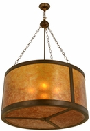 Meyda Tiffany 156999 Smythe Craftsman Antique Copper / Amber Mica Drop Ceiling Lighting