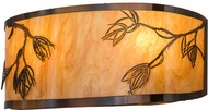 Meyda Tiffany 157197 Stoneycreek Mountain Pine Country Dark Burnished Transparent Copper New Mica Acrylic Fluorescent Lighting Wall Sconce