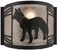 Meyda Tiffany 157292 Fox on the Loose Left Country Black / Silver Mica Fluorescent Wall Light Sconce