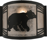 Meyda Tiffany 157295 Happy Bear on the Loose Right Country Black / Silver Mica Fluorescent Wall Light Sconce