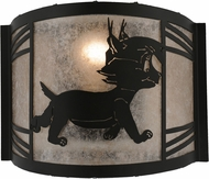 Meyda Tiffany 157297 Lynx on the Loose Right Country Black / Silver Mica Fluorescent Wall Sconce