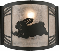 Meyda Tiffany 157298 Rabbit on the Loose Left Rustic Black / Silver Mica Fluorescent Wall Lamp